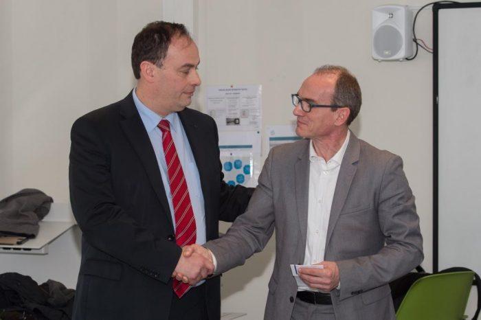 Inauguration de la plateforme avec Philippe Dorge (Directeur de La Poste BBC), en présence de Didier Desplanche